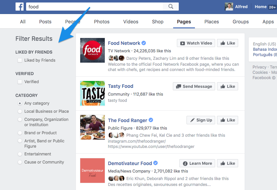 Facebook search results