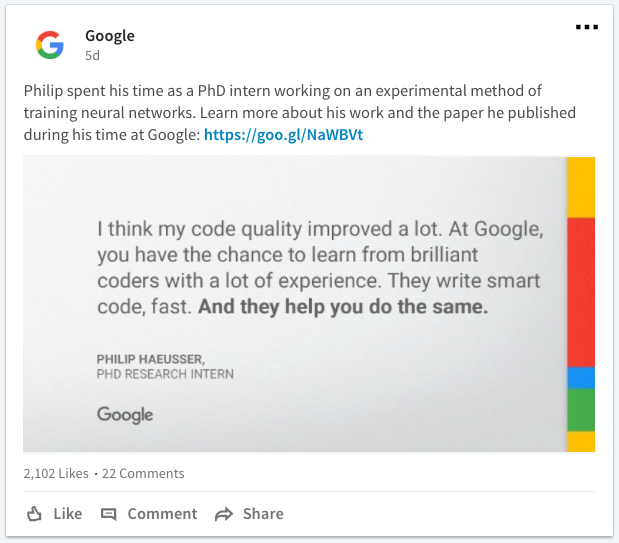 Google LinkedIn career content