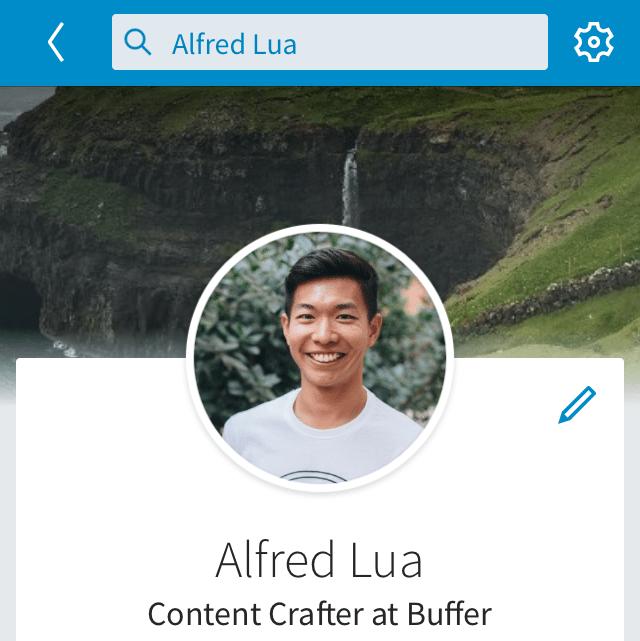 LinkedIn profile background photo on mobile