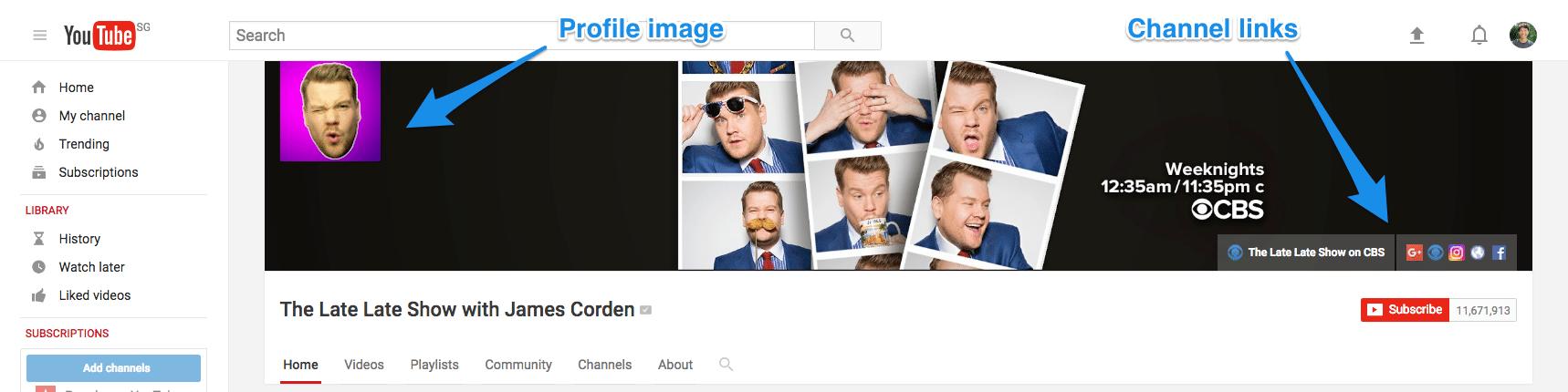 YouTube channel art overlay