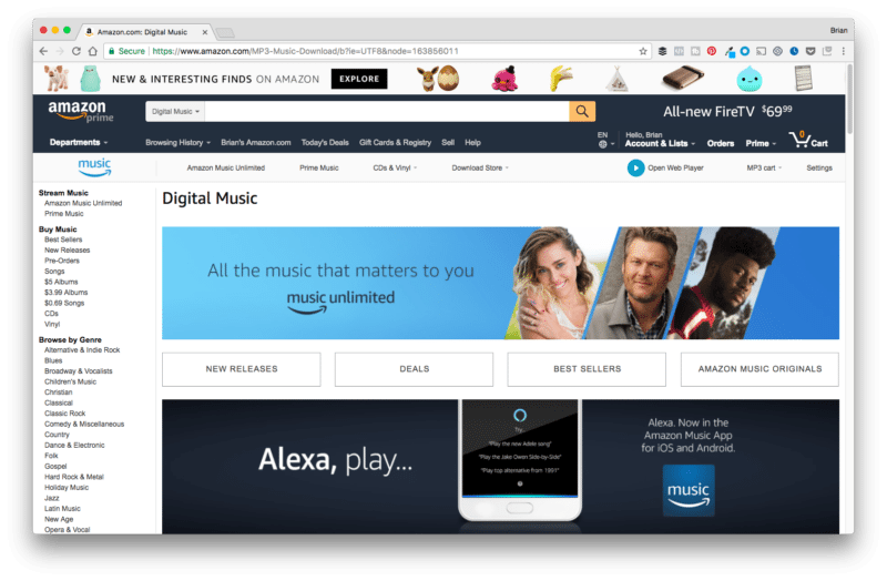 Amazon Background Music Page Preview