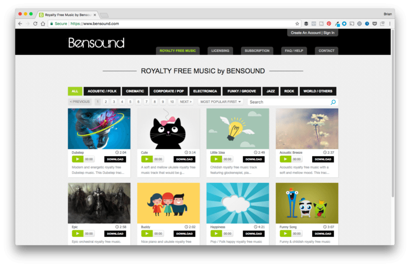 Bensound Background Music Page Preview