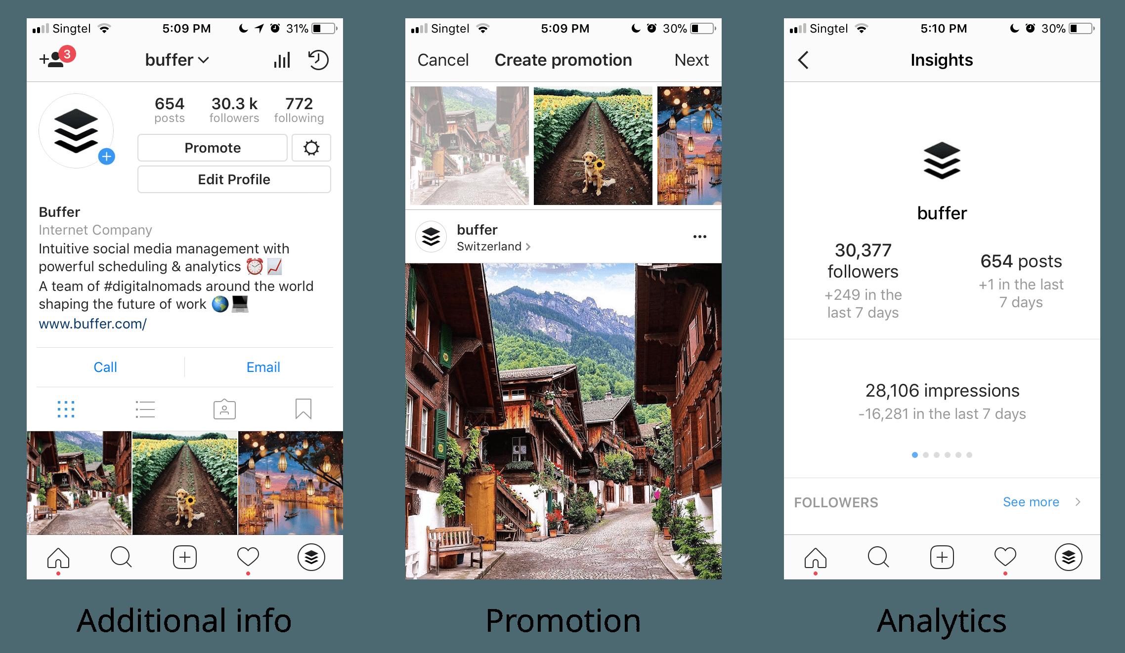 Profil d'entreprise Instagram