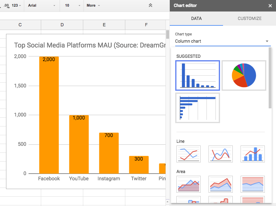 Google Sheets: Customize chart