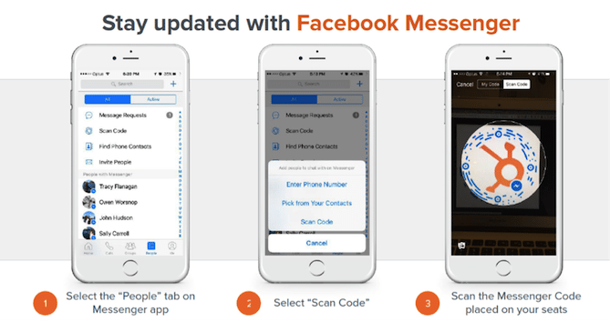 HubSpot Facebook Messenger use at events