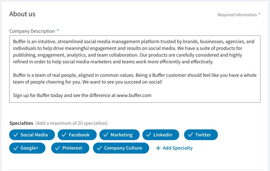 LinkedIn Company Page - keywords