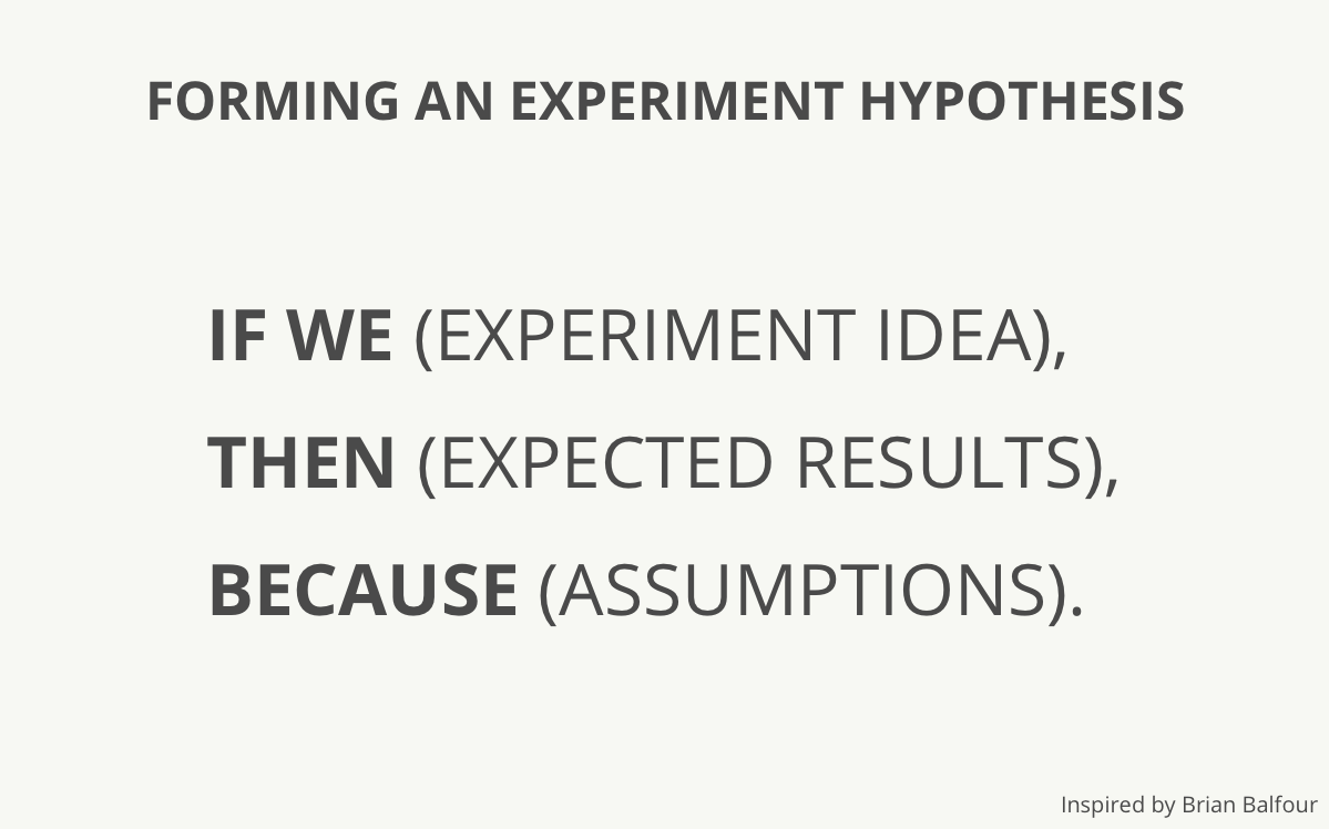 Forming an experiment hypothesis