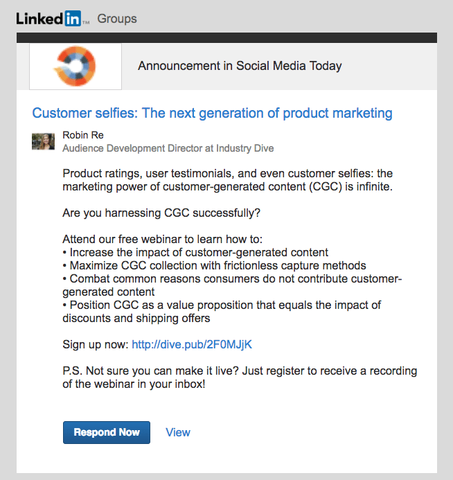 LinkedIn Group announcement example