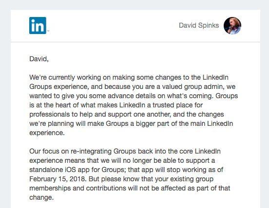 LinkedIn Groups changes