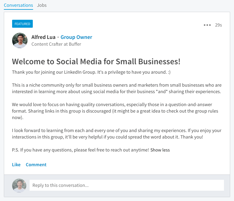 LinkedIn Group featured post