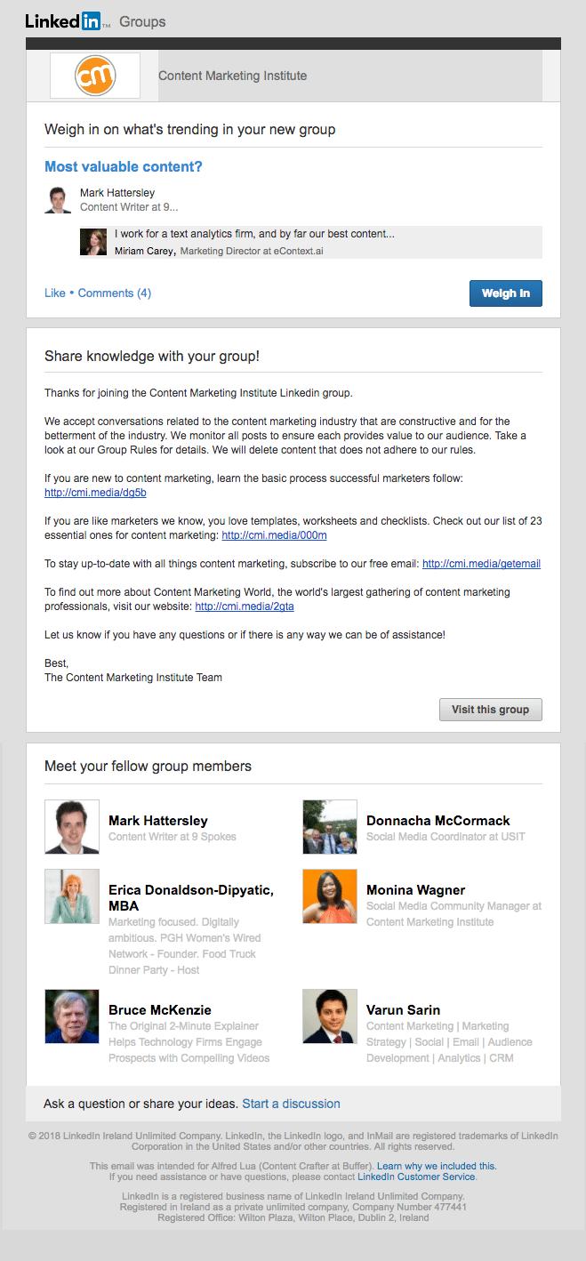 LinkedIn Group custom welcome message