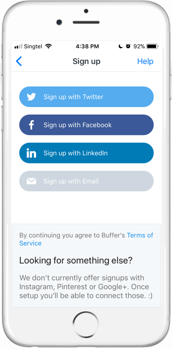 Buffer mobile app signup step 2