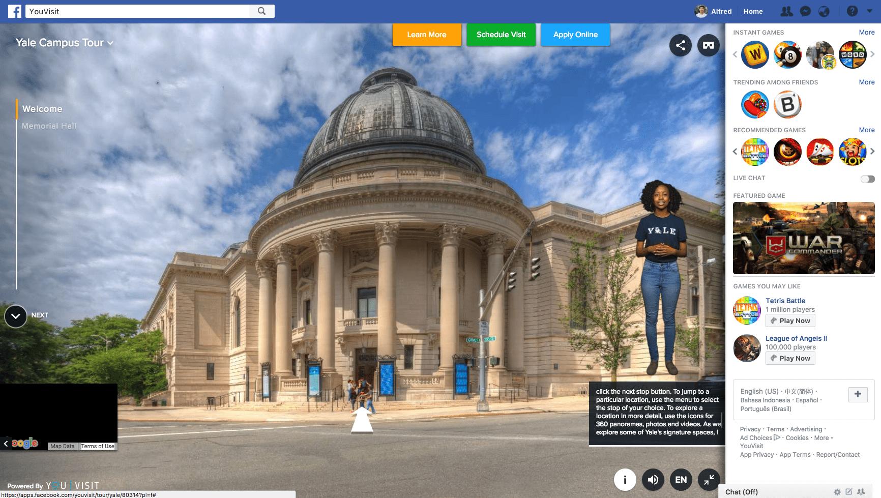 Yale University VR campus tour