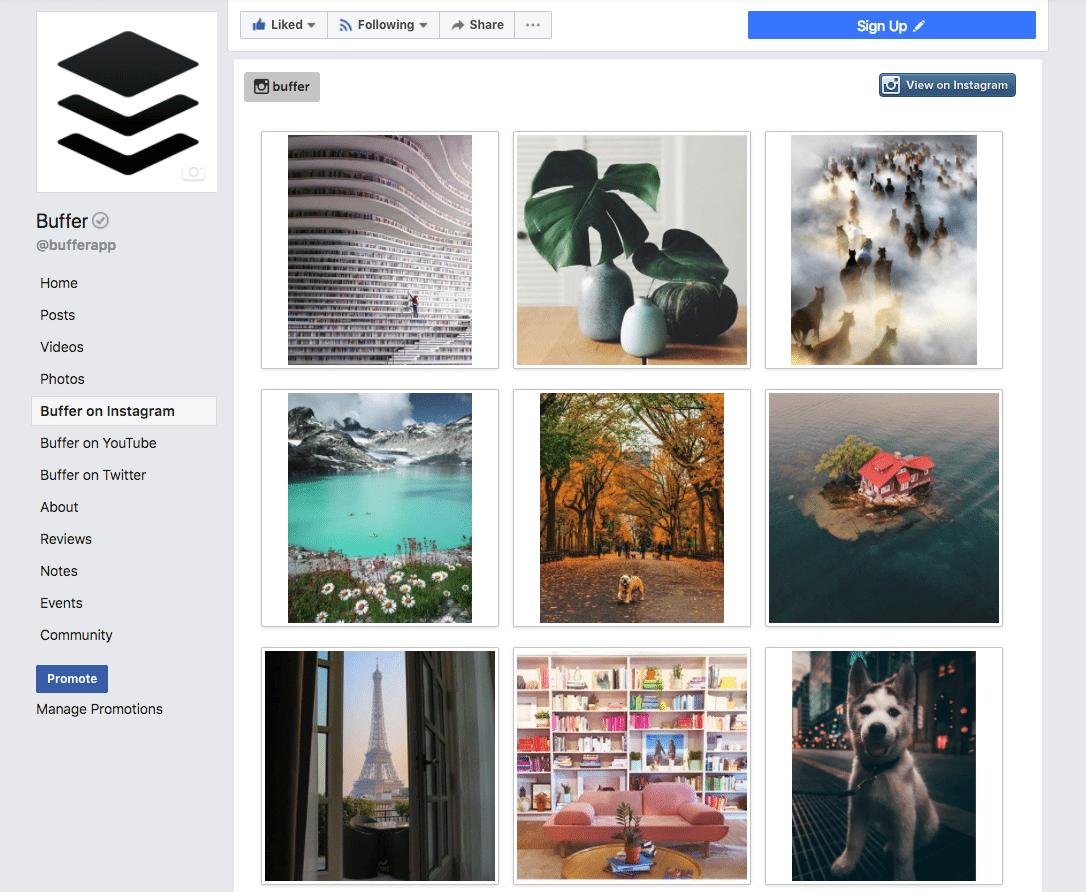 Buffer Instagram on Facebook Page