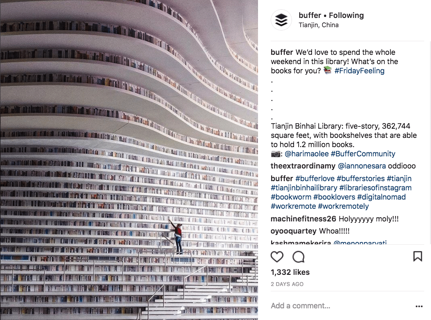 Instagram post with hashtags and location tags