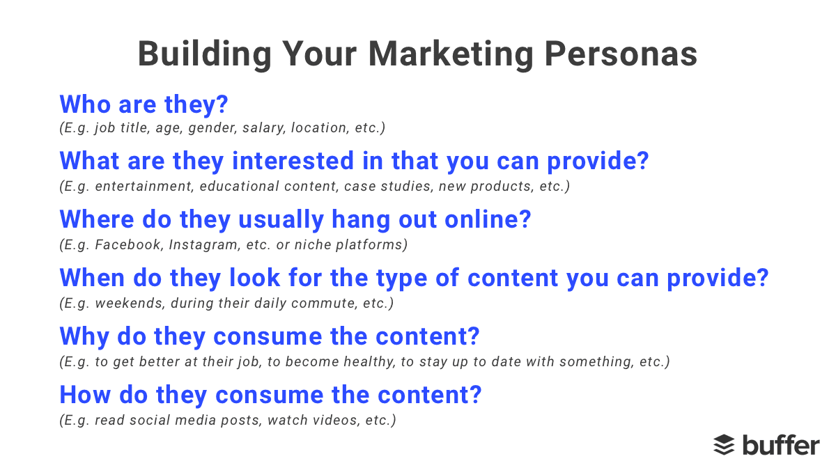 Marketing personas questions