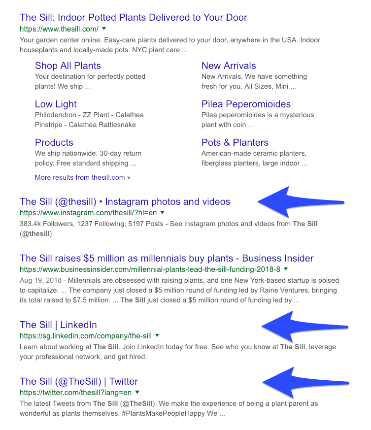 Social media profiles on Google search results