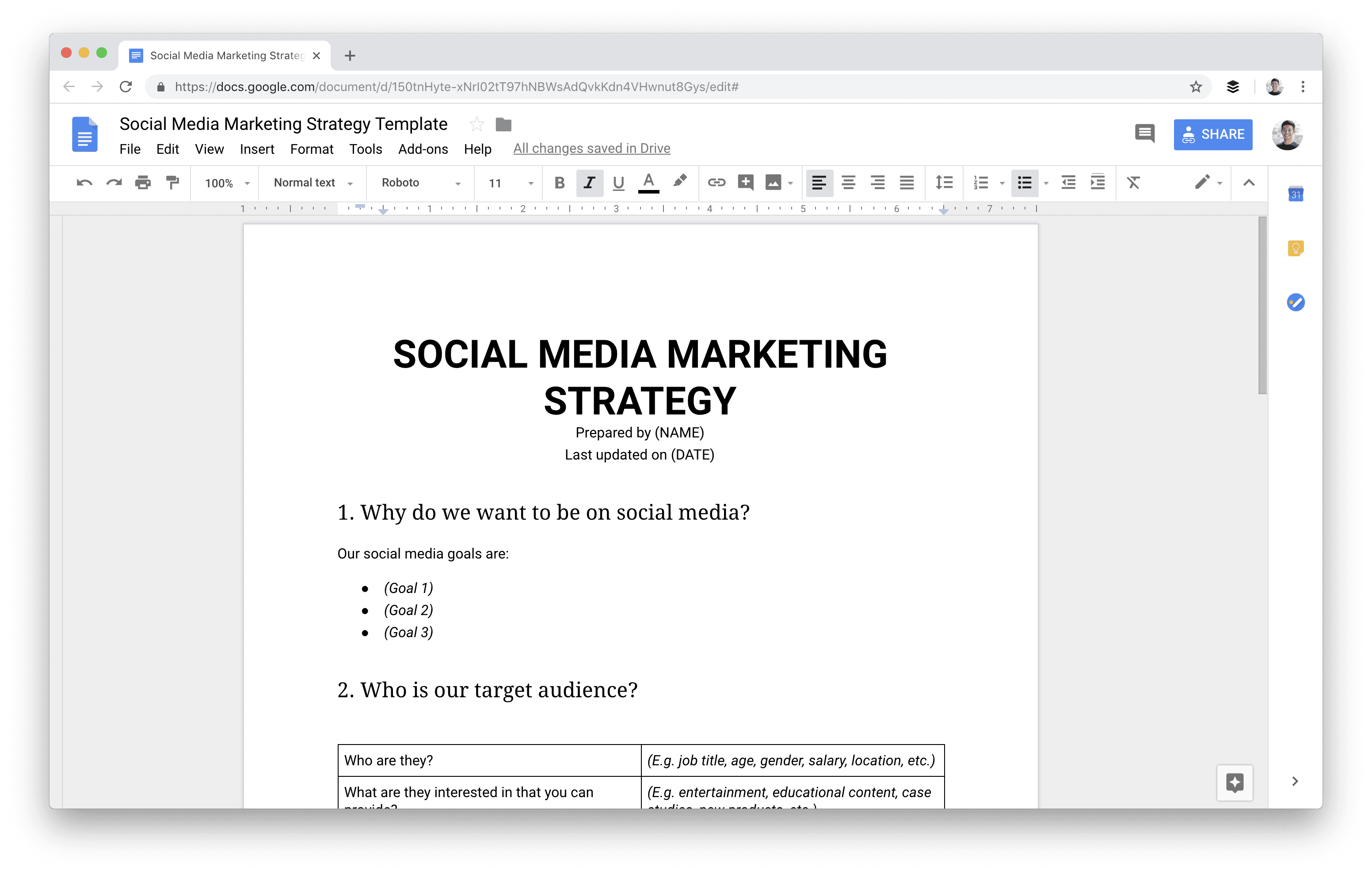 Social media marketing strategy template