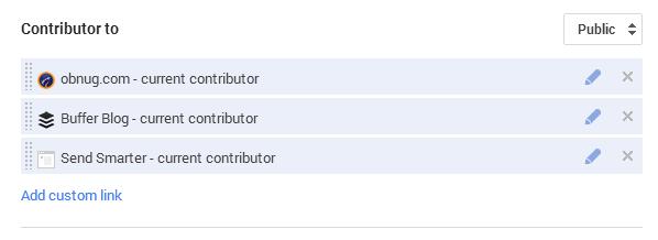 Google+ contributor settings