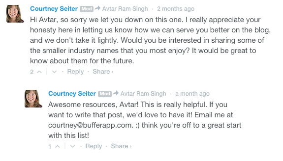 Courtney Comments on the Buffer Blog