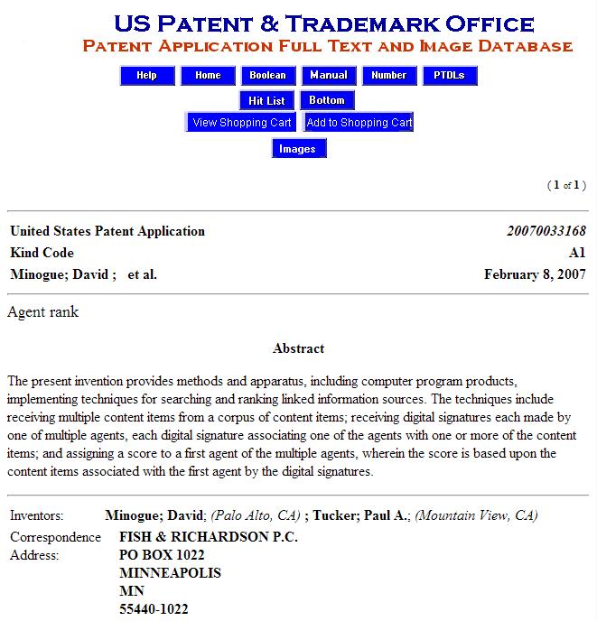 Google patent author rank