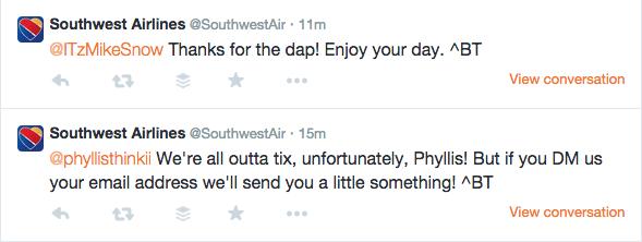 Southwest signed tweets