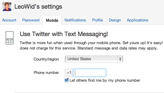 Twitter mobile settings