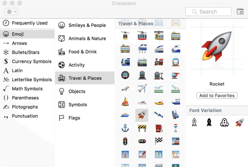 emoji characters palette