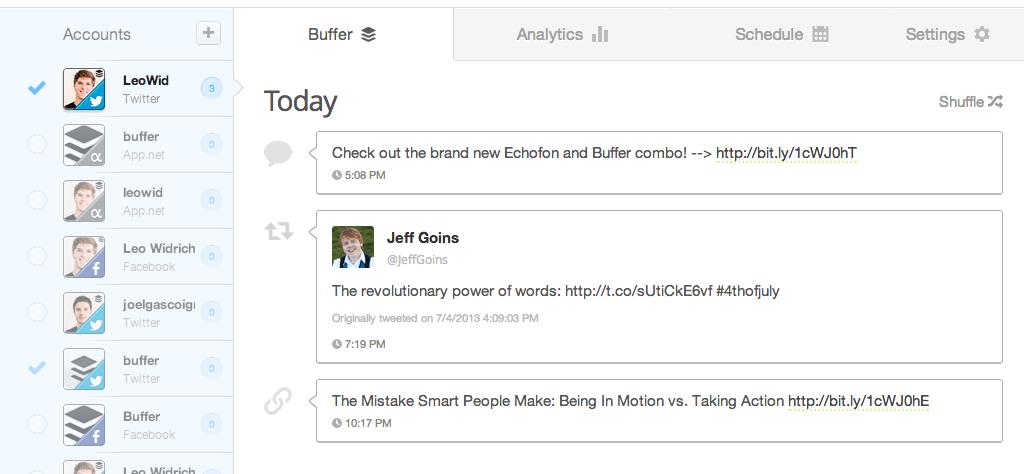 Buffer Echofon schedule tweets twitter client
