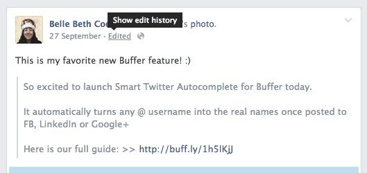 facebook changes - editing history