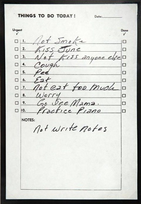 johnny cash's perfect to do list