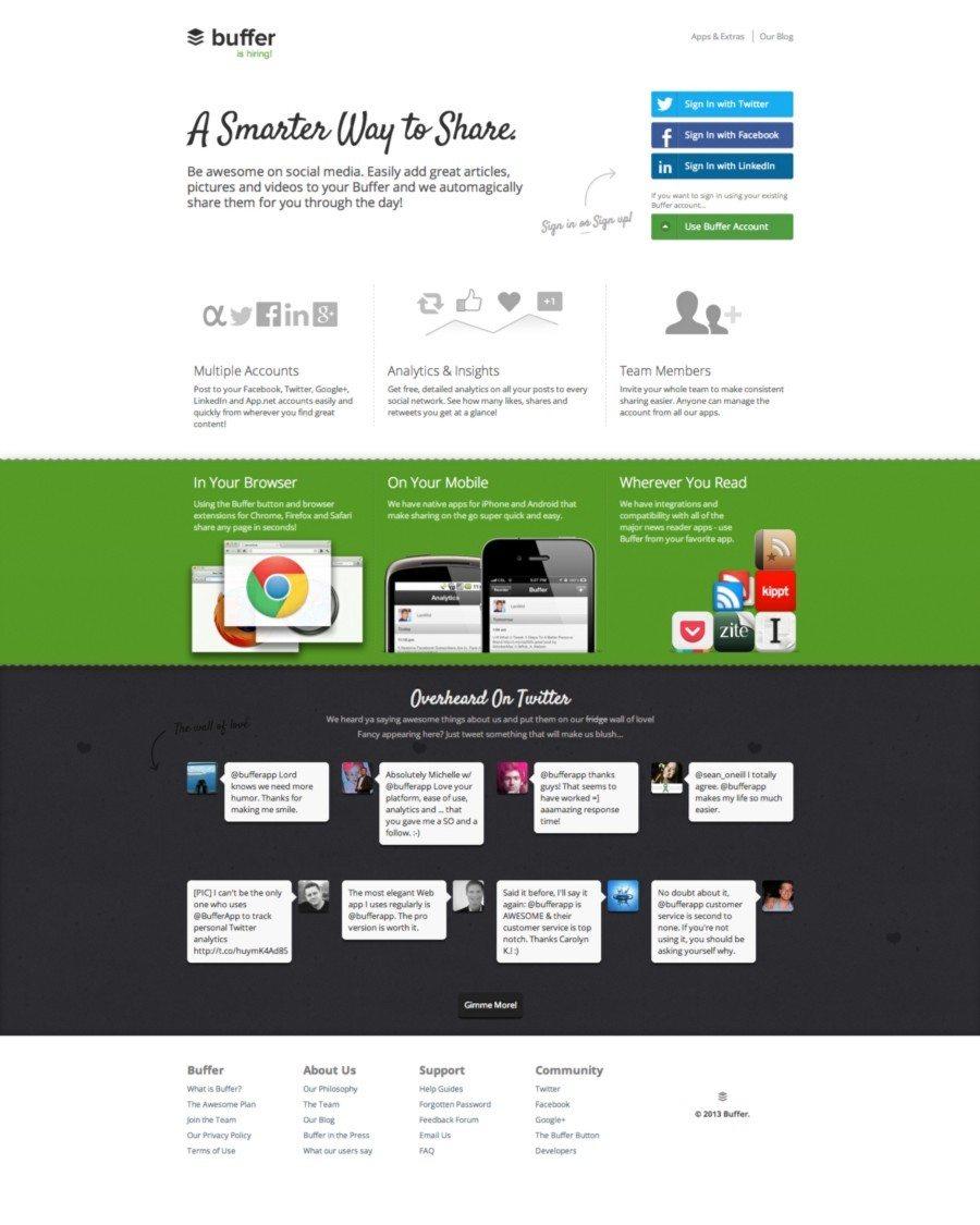 Old Buffer homepage