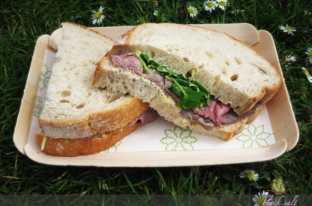 sandwich on grass