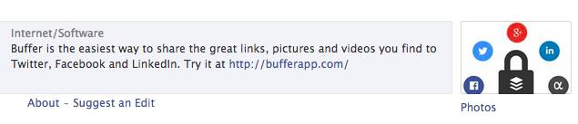 Buffer Facebook bio