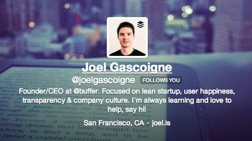 Joel Twitter bio