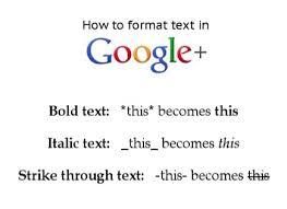 Google+ formatting