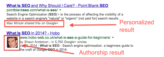 personalized, authorship SERP result