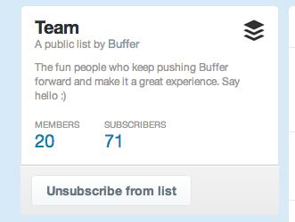 Buffer team Twitter list