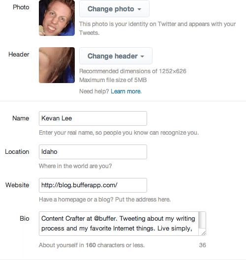 Twitter settings