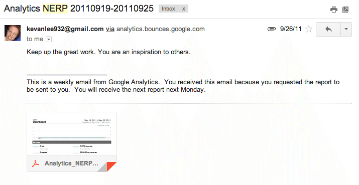 My analytics email