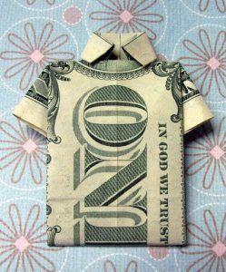 Repurpose - dollar bill origami