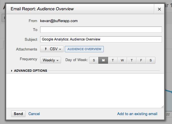 GA email options