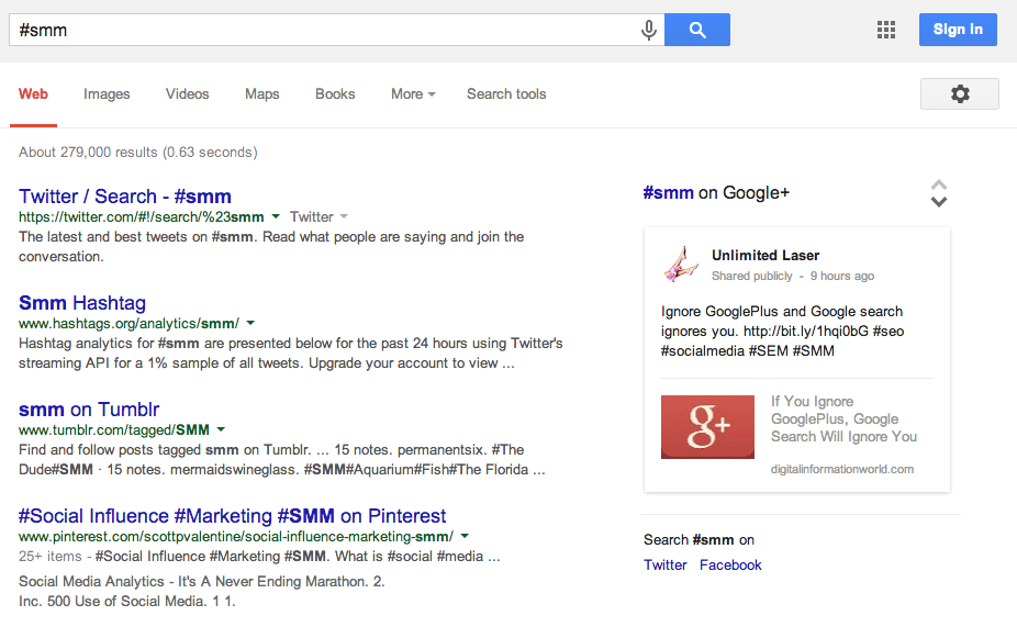 Hashtag search Google