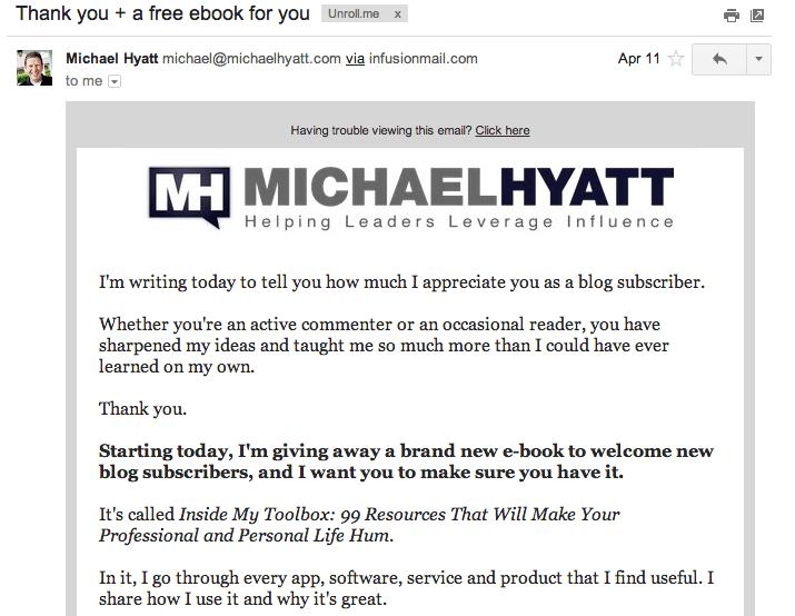 Michael Hyatt email