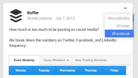Buffer G+ hashtags