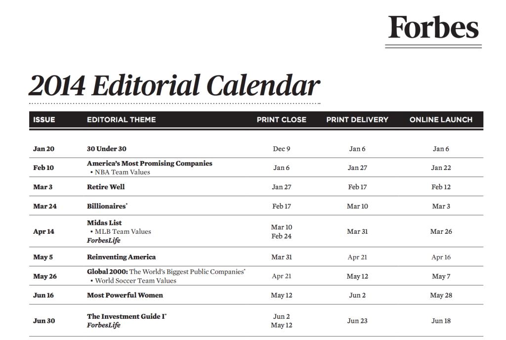 Forbes calendar