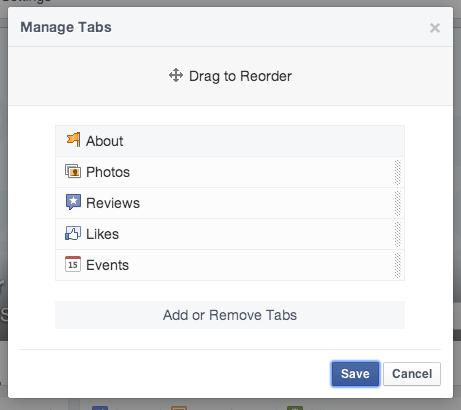Facebook menu options