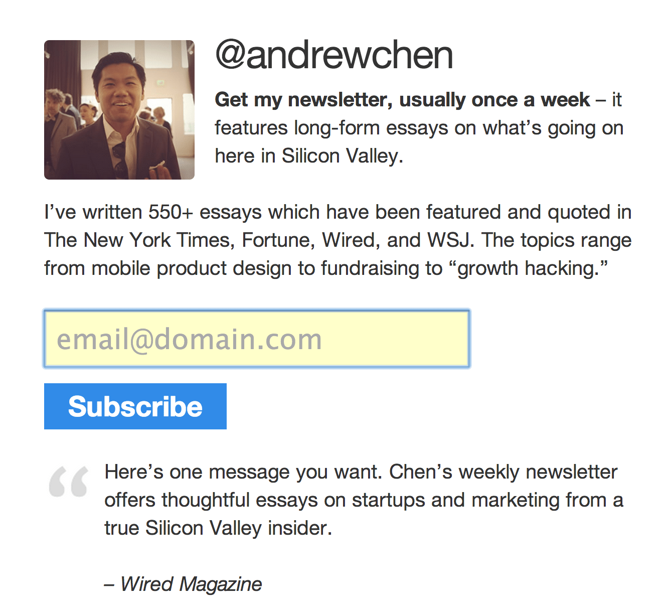 Andrew Chen homepage