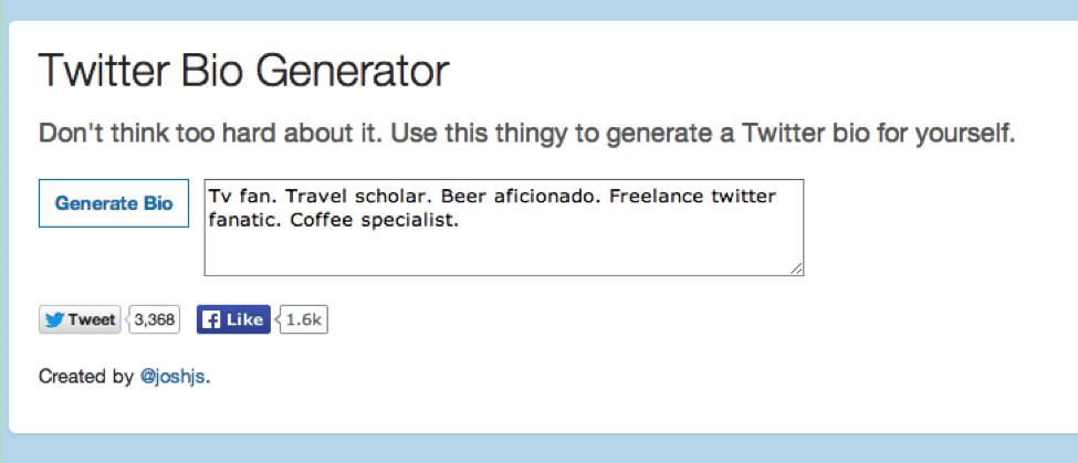 Twitter bio generator