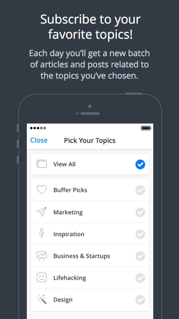 Daily by Buffer - content topics